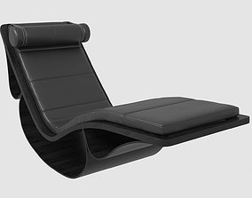 Chaise Longue Rio black leather Oscar Niemeyer 3D model