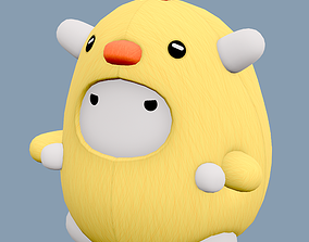 Stuffed Toy Chicken - Lowpoly 3D asset