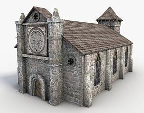 Low Poly Stone Church 3D model