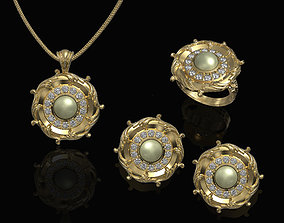 3D Oriental pendant with leaves - Set