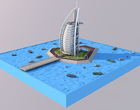 3D model Low Poly Burj Al Arab Hotel Tower Landmark
