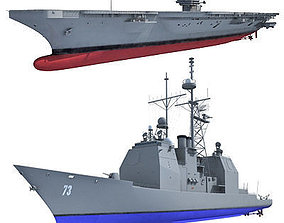 3D Set of 2 Navy ships
