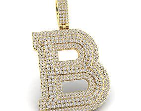 Custom 3D Initial B Letter Pendant