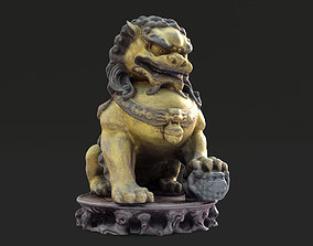 Chinese style bronze lion statue 3D print model