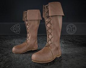 3D asset Brown Medieval Boots