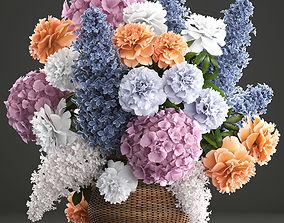 3D model Bouquet of flowers in a basket 2