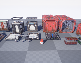 3D asset realtime Gothic Sci-fi Modular Terrain set