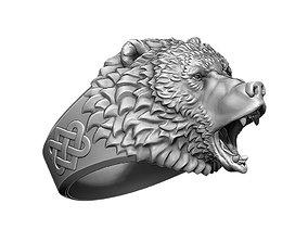 Roaring bear ring angry animal head jewelry 3D print model
