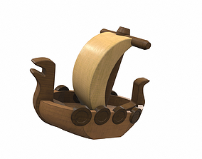 3D model Wooden ship toy 3