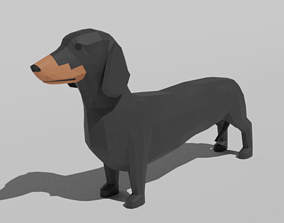 3D asset Low Poly Cartoon Dachshund Dog