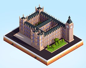 Cartoon Low Poly Big Ben Landmark 3D asset