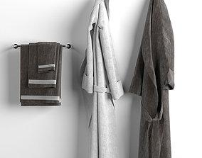 Bathrobes and towels set 3D model