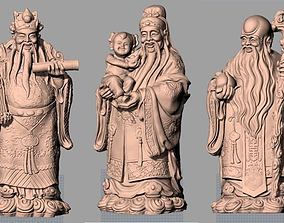 China Sculpture Model 3 gods of fortune prosperity 3D 2
