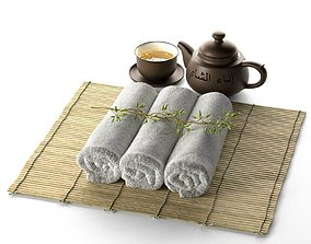 3D Spa Tea Cup Pot Plant with Towel