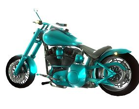 Harley Davidson Cusom Bike 3D Model low-poly