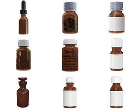 Medicine glass bottles for mockup p1 3D model