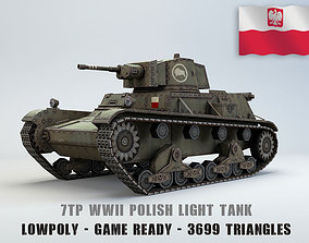 Low Poly 7TP light tank 3D asset
