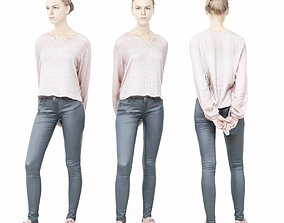 Pink Top Girl in Leather Pants 3D model
