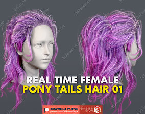 3D model Character - Real Time Female Pony Tails Hair