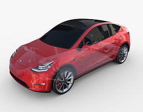 Tesla Model Y AWD Red with chassis