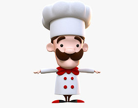 Cartoon Cook 3D Model Character no Rig realtime