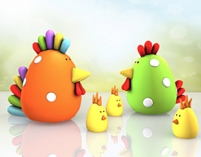 Colourful Easter Chick family - Low poly 3d game-ready