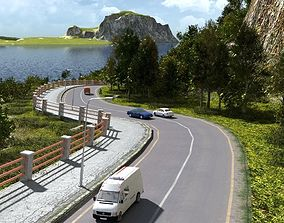 3D model Coastal road in Blender