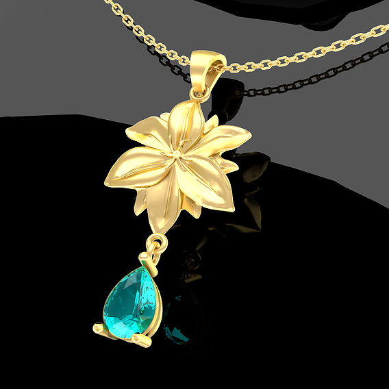 Flower A001 Pendant Jewelry Gold 3D print model