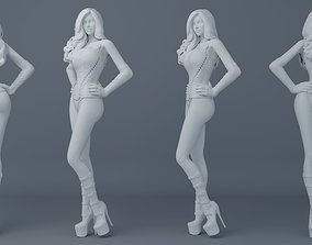 Sexy girl wearing leather 002 3D printable model