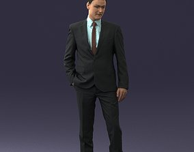 3D model Young man suit with brown tie 0635