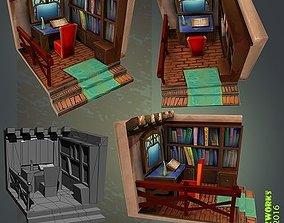 3D model Medieval Library Interior
