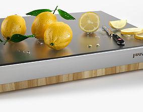 3D Lemons on chopping board lemons