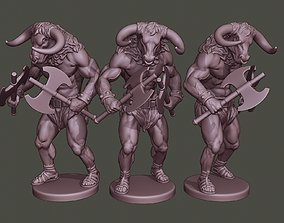 3D printable model Minotaur Warrior Agressive two Axes