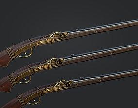 Japanese style Matchlock gun- Teppo 3D asset