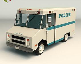 3D asset Low Poly Police Van 03
