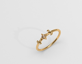 Thin baroque pattern ring with 3D print model