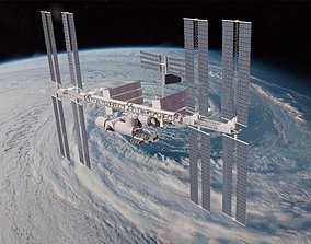 3D asset International Space Station With RIG