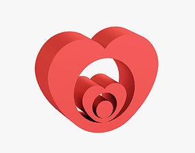lovers Heart shaped figurine 3D printable model