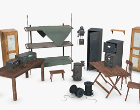 Bundle German Bunker Furnitures WWII 3D