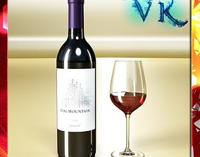 3D Red Wine Bottle Fog Mountain and Cup