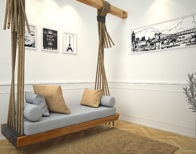 Simple Hanging Bed scene 3D