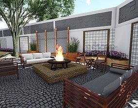 3D Backyard landsacpe design of modern house with 1