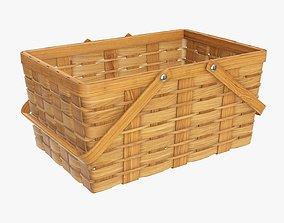 3D model Wicker basket picnic with handles medium brown