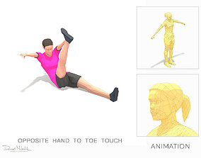 3D asset opposite hand to toe touch Exercise Woman 1
