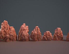 Lowpoly desert rock set 3D asset