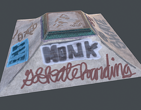 3D asset skatepark ramp tagged and cleaned