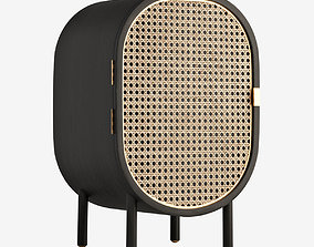 Sungkai Woven Cane and Mango Wood Bedside Cabinet 3D model