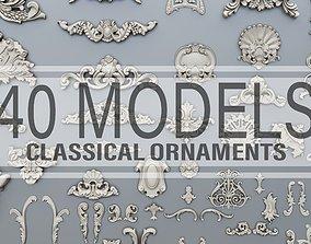 40 classical baroque ornaments 3D printable model