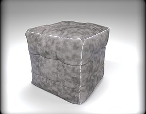 3D Chesterfield Ottoman Smoky Cube with Led
