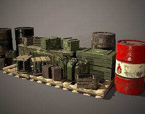 3D model game-ready Crates and Barrels